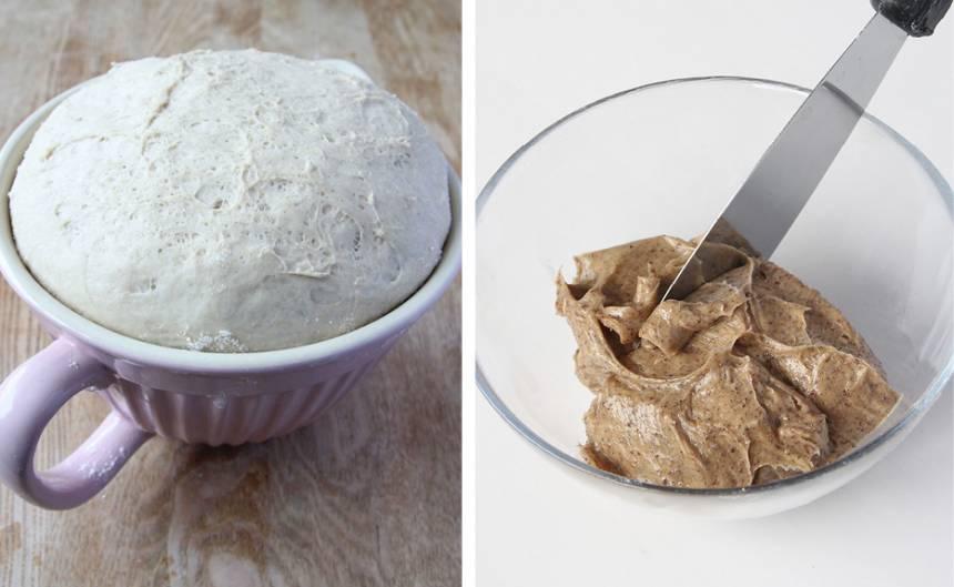1. Gör degen enligt receptet och låt den jäsa under bakduk i ca 45 min. Blanda under tiden ihop alla ingredienserna till fyllningen i en skål.