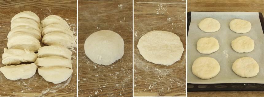 2. Gör 16–20 runda bollar av degen med mjölade händer. Lägg dem på en plåt med bakplåtspapper och platta till dem. Låt bröden jäsa under bakduk i ca 30 min. Sätt ugnen på 250 grader.