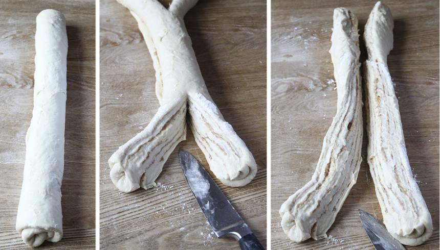 3. Rulla ihop rektangeln från långsidan till en rulle. Dela längden horisontellt med en vass kniv.