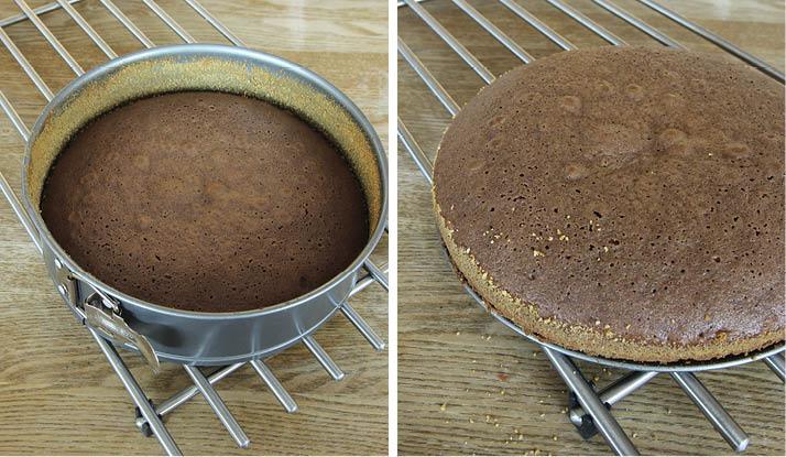3. Grädda kakan mitt i ugnen i ca 15 min. Låt den svalna i formen innan du tar bort kanten.