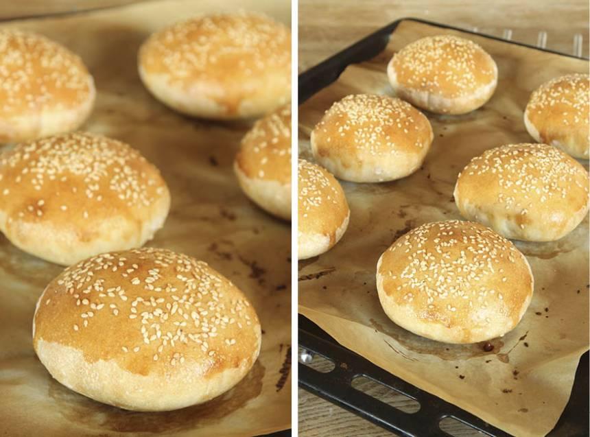 4. Grädda bröden mitt i ugnen i 8–12 min. Låt dem svalna på ett galler under bakduk.