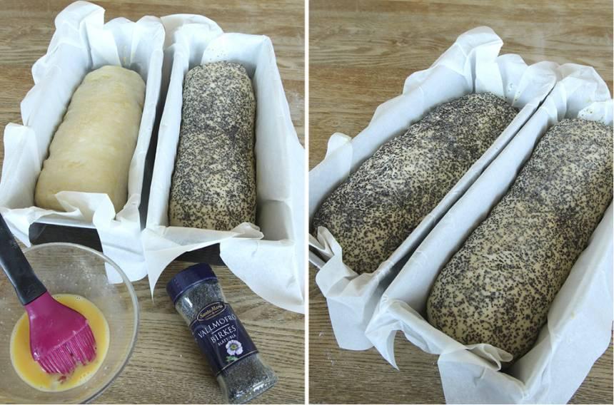 4. Pensla ytan med ägg och strö över vallmofrön. Låt bröden jäsa under bakduk i ca 30 min. Sätt ugnen på 250 grader.