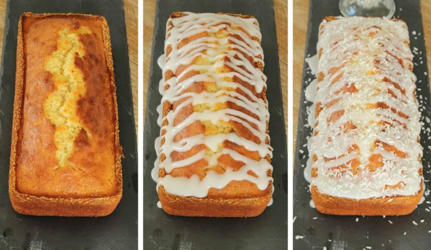 5. Ringla glasyren över kakan när den kallnat. Strö över lite kokos och låt glasyren stelna.