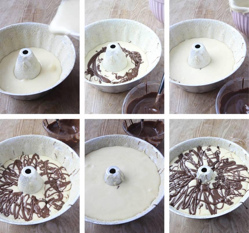 1. Gör smeten enligt receptet. Häll en tredjedel av smeten i en smord och bröad form, ca 1 1/2 liter. Värm Nutellan några sekunder i mikron så att den mjuknar. Ringla en tredjedel av Nutellan över smeten. Upprepa två gånger. 4. Grädda kakan längst ner i ugnen i 35–40 min. Låt den stå en stund innan du stjälper upp den. Värm Nutellan några sekunder i mikron (inte länge) så den blir mjuk och ringla den över kakan. Pudra eventuellt över lite florsocker.