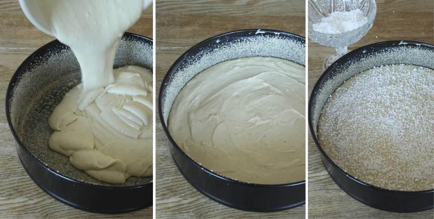 2. Häll smeten i en smord och bröad form, ca 24 cm i diameter. Strö över pärlsockret.