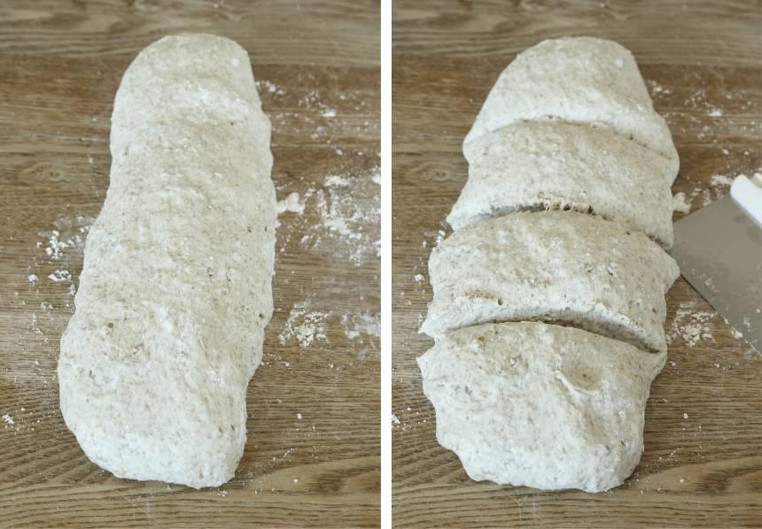 2. Knåda igenom degen på ett mjölat bakbord. Rulla ut en längd av degen och dela den i fyra delar. Forma dem till längder, ca 30 cm.
