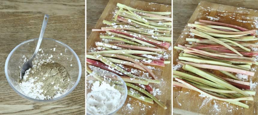 2. Blanda kardemumma, florsocker och potatismjöl i en skål. Strö det över rabarberstängerna.