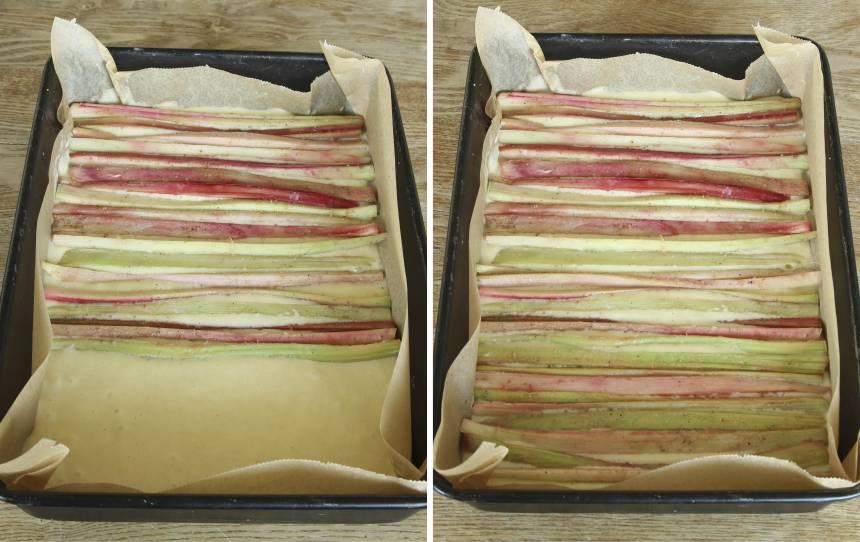 4. Lägg rabarberstängerna tätt ihop ovanpå smeten.