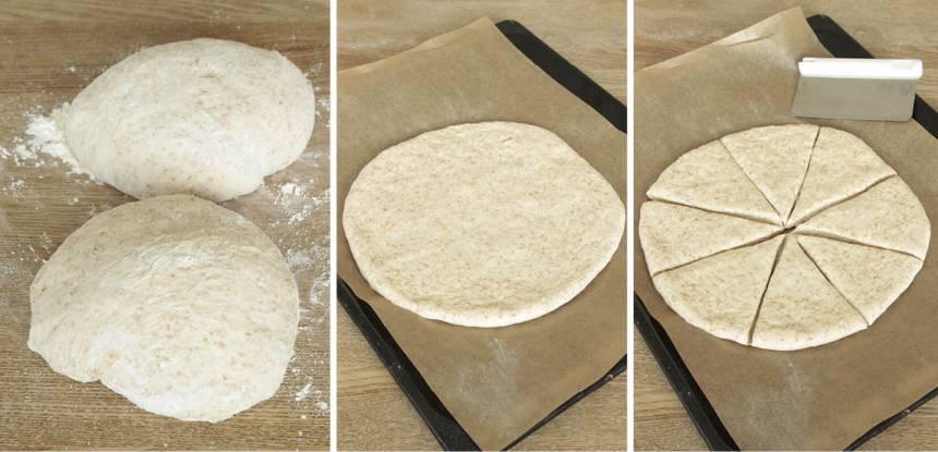 """2. Dela degen i två bitar. Tryck ut dem till två rundlar 25–28 cm i diameter på varsin plåt med bakplåtspapper. Skär rundlarna i 6 """"tårtbitar"""" vardera med en kniv eller en degskrapa."""