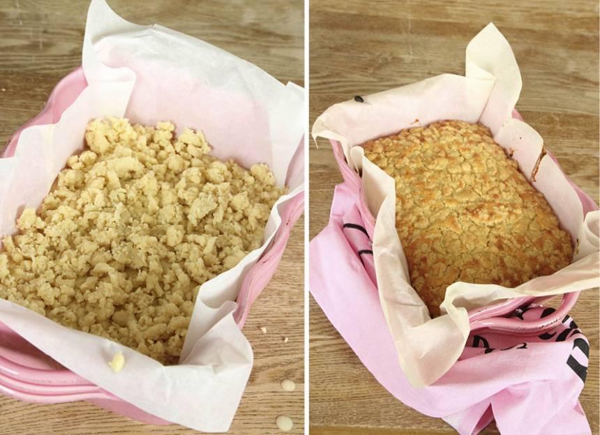 3. Grädda kakan mitt i ugnen i 35–40 min. Låt den kallna i formen innan du skär den i rutor. Pudra florsocker över kakan före servering.