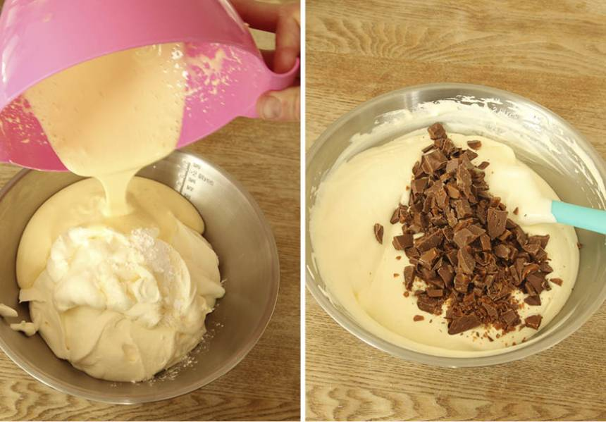 4. Fyllning: Vispa äggulor och florsocker till en fluffig smet. Vispa grädden och blanda ner den och vaniljsockret i äggsmeten. Vänd försiktigt ner Daimen i smeten.