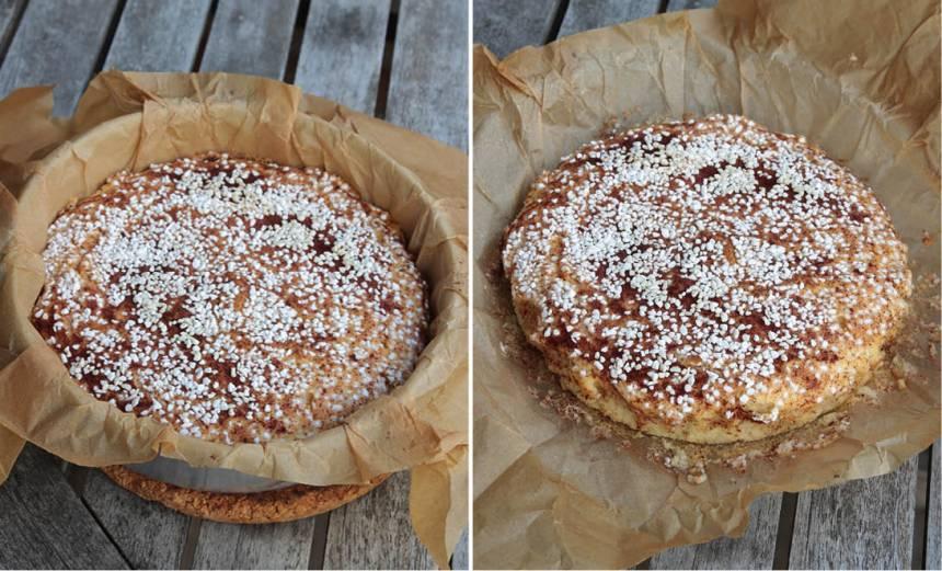5. Grädda kakan mitt i ugnen i 25–30 min. Känn med en provsticka att kakan är klar. Låt den svalna i formen. Lyft sedan upp kakan med papperet och bjud på fika eller packa ner den i picknickkorgen.