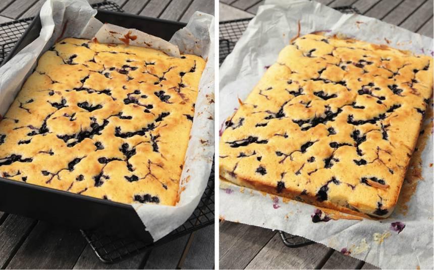 4. Grädda kakan mitt i ugnen i 30–35 min. Känn med en provsticka att kakan är klar. Låt den svalna i formen. Lyft upp kakan med papperet ur formen och skär den i rutor.