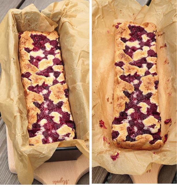 4. Grädda kakan mitt i ugnen i ca 40 min. Låt den svalna i formen och lyft sedan upp hela papperet med kakan ur formen. Servera gärna vaniljsås, glass eller grädde till kakan. Förvara kakan i bakplåtspapperet så behåller den sina lite knapriga kanter.