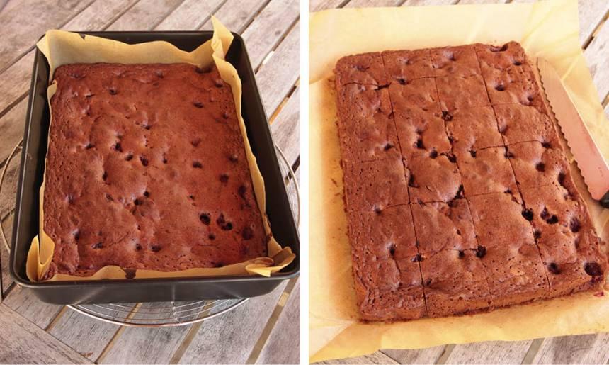 4. Grädda kakan mitt i ugnen i 25–30 min. Låt den kallna helt innan du skär den i rutor.