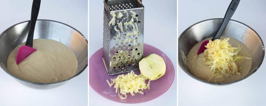 1. Sätt ugnen på 175 grader. Vispa socker och ägg pösigt i en bunke. Tillsätt salt och bakpulvret blandat med vetemjölet. Rör om. Blanda ner smör och de rivna äpplena i smeten.