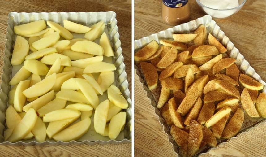 1. Sätt ugnen på 200 grader. Skala och klyfta äpplena. Lägg dem i en smord form, ca 18 x 25 cm. Strö över socker och kanel.