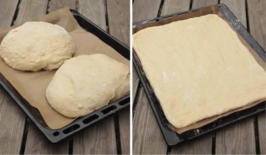 3. Dela degen i två delar. Kavla ut degbitarna på två plåtar med bakplåtspapper.