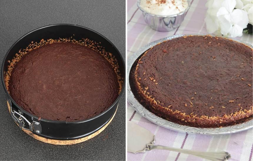 3. Grädda kakan mitt i ugnen i 18–20 min beroende på hur kladdig du vill ha den. Låt den svalna i formen. Servera gärna kakan med vispad grädde.