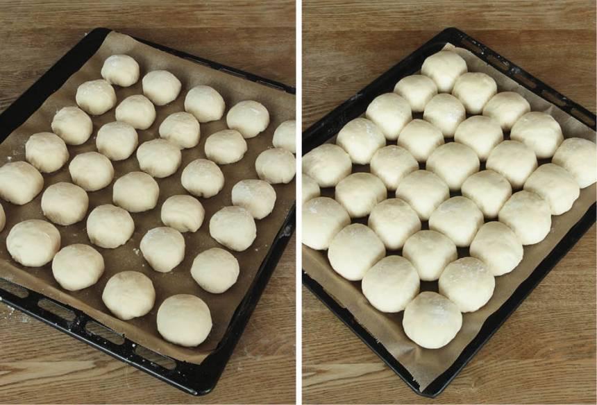 3. Lägg bröden på en plåt med bakplåtspapper. Låt dem jäsa under bakduk i 50–60 min. De ska jäsa ihop med varandra. Sätt ugnen på 250 grader.