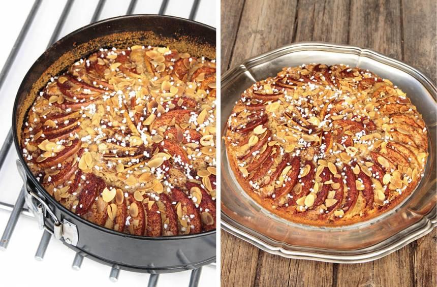 4. Grädda kakan mitt i ugnen i 40–50 min. Låt kakan svalna i formen. Pudra lite florsocker på kakan före servering. Ät den gärna med en klick grädde eller vaniljsås.