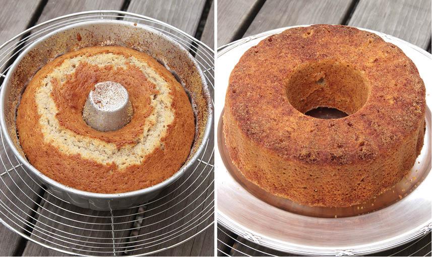 5. Grädda kakan längst ner i ugnen i 35–40 min. Låt den svalna i formen innan du stjälper upp den på en tallrik. Pudra gärna lite florsocker på kakan före servering.