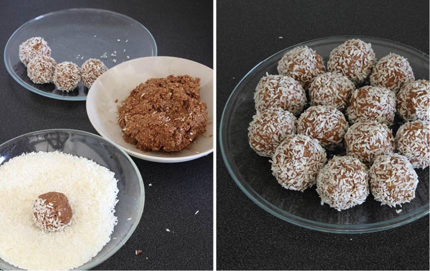 2. Gör runda bollar av degen i önskad storlek. Rulla nougatbollarna i kokos. Förvara dem i en burk med tättslutande lock i kylskåpet.