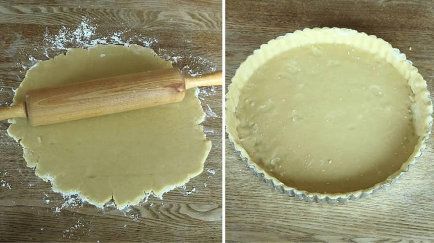 2. Kavla ut pajdegen på ett mjölat bakbord och lägg den i en pajform, eller tryck ut den direkt i en pajformen, 22–23 cm i diameter.