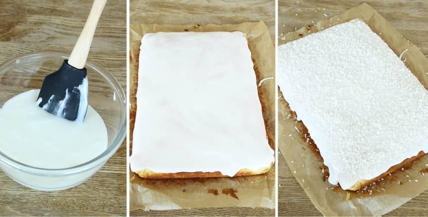 4. Glasyr: Blanda florsocker och spad till en glasyr och bred ut den på kakan. Strö över kokos och låt glasyren stelna. Skär kakan i rutor med en vass kniv.