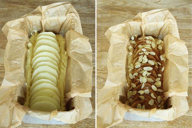 4. Lägg äppelskivorna i rad mitt på kaksmeten. Strö över socker, kanel och mandelspån.