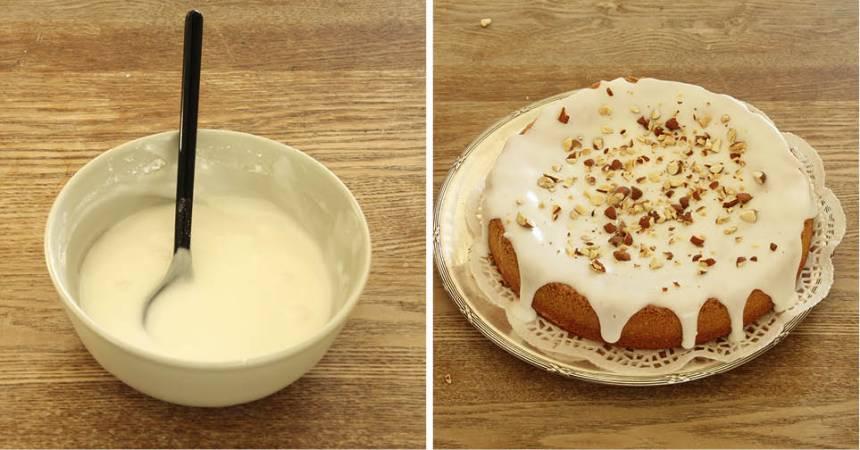 5. Glasyr: Blanda florsocker och vatten till en glasyr. Bred ut den på kakan och strö över sötmandel. Låt glasyren stelna.