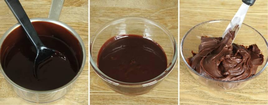 4. Chokladtryffel: Koka upp grädden i en kastrull. Stäng av värmen och låt chokladen och smöret smälta i grädden i eftervärmen. Rör om. Häll tryffeln i en skål och låt den stå i kylen i någon timme och tjockna men inte stelna. Rör om då och då.