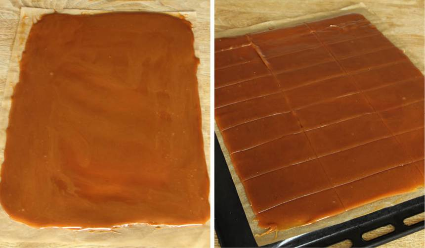 2. Bred ut smeten tunt på ett bakplåtspapper. Skär den i bitar, ca 3 x 8 cm innan den stelnar. Låt kolan stelna.