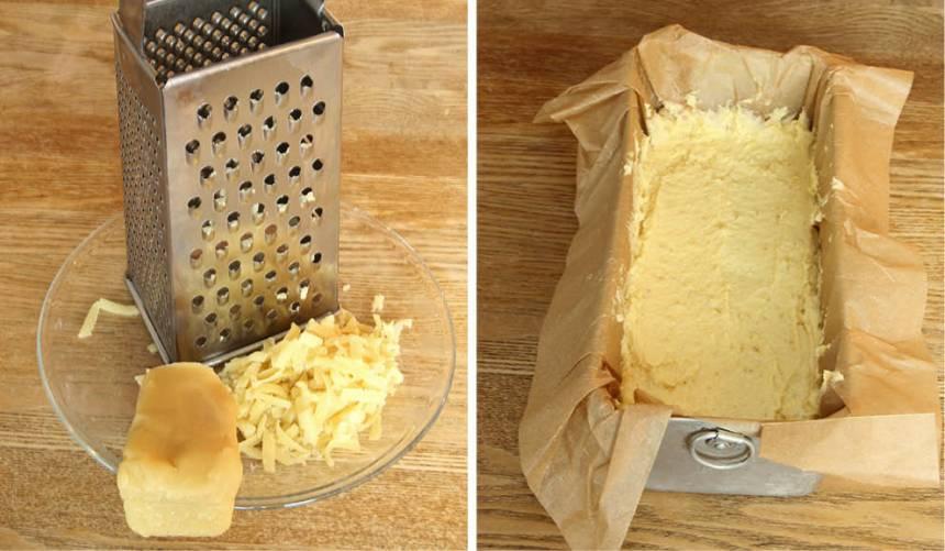 2. Riv mandelmassan grovt och rör ihop den med smöret. Tillsätt äggen och blanda. Rör ihop bakpulver och vetemjöl och blanda ner det och citronskalet i smeten. 3. Bred ut smeten i en limpform, ca 1 ½ liter, klädd med bakplåtspapper.