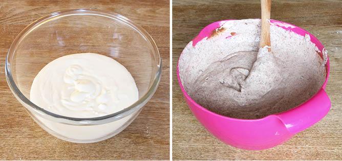 2. Dela upp grädden i två bunkar. Blanda ner vaniljsocker i den ena och smält choklad och kakao i den andra (chokladen stelnar något och gör att det blir goda småbitar av choklad i grädden).