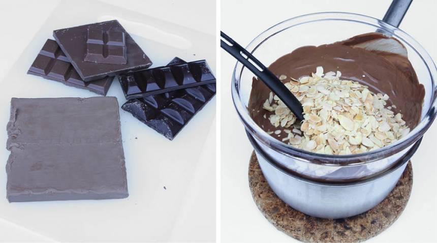 2. Smält nougat och choklad över vattenbad. Blanda ner den rostade mandeln.