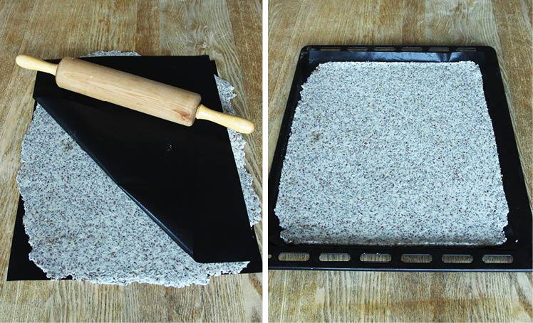 2. Kavla ut degen tunt mellan två bakplåtspapper. Lägg den på en plåt och dra bort det övre papperet. Strö över lite flingsalt.