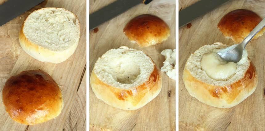 5. Montering: Skär av ett lock på varje bulle. Gröp ur lite inkråm ur bullarna. Blanda ihop mandelmassan med mjölk till en kladdig massa. Lägg en klick i varje bulle.