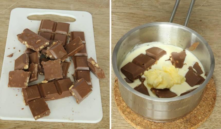 5. Fudge: Värmen upp grädden i en kastrull. Bryt chokladen i bitar och smält ner den i grädden. Tillsätt smöret och blanda ihop allt till en slät smet. Låt den svalna något.