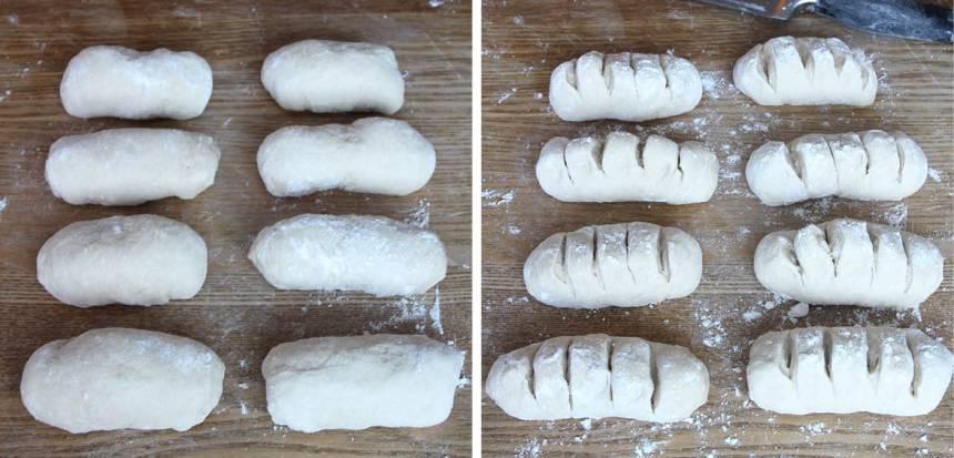 2. Dela degen i 8 bitar på ett mjölat bakbord. Forma dem till små limpor och skär ca 4 snitt i varje bröd med en vass kniv.