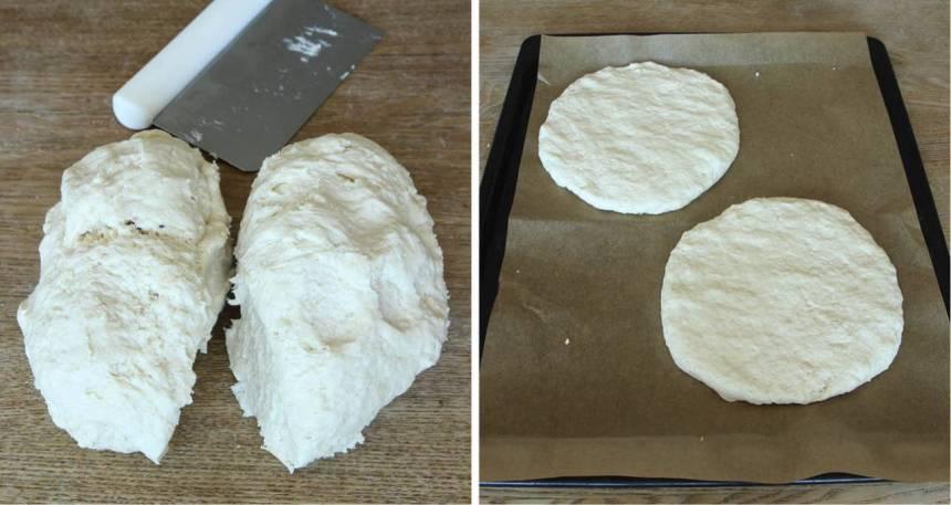 2. Dela degen i 2 delar och forma runda kakor med mjölade händer. Lägg dem på en plåt med bakplåtspapper.