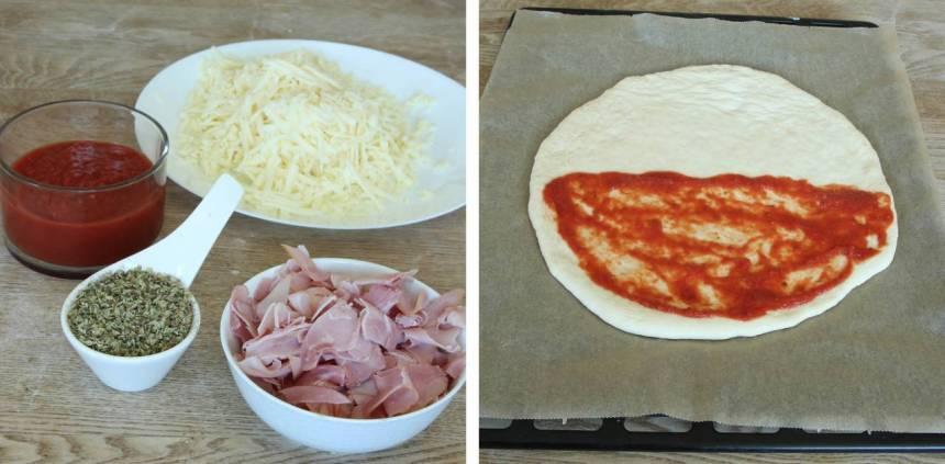 3. Bred ut pizzasåsen på halva rundeln (ej ända ut i kanterna).