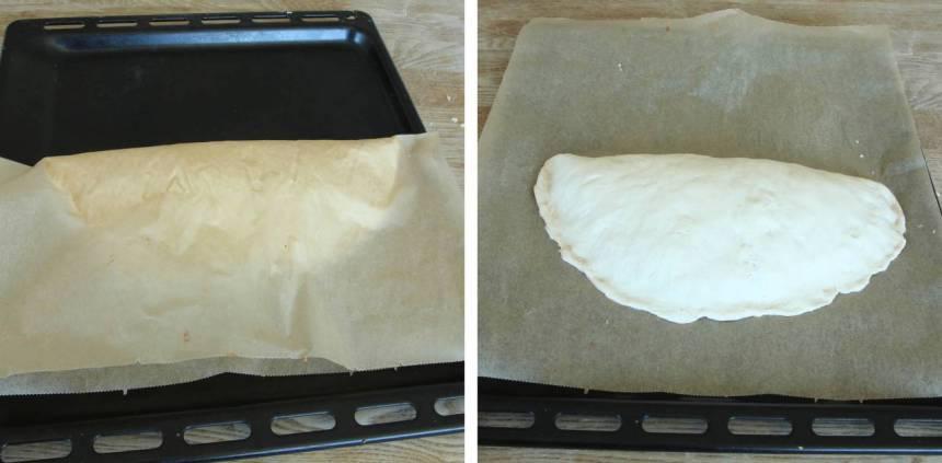 5. Vik ihop pizzan på mitten genom att lyfta upp pappret och lägga det över pizzan. Nyp ihop kanterna ordentligt så fyllningen inte läcker ut. Låt pizzan jäsa under bakduk i ca 20 min. Sätt ugnen på 250 grader varmluft.