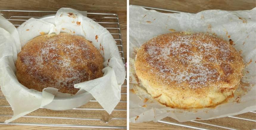 5. Grädda kakan mitt i ugnen i 26–30 min. Känn med en provsticka att kakan är klar. Låt den svalna i formen. Lyft sedan upp kakan med papperet och bjud på fika eller packa ner den i picknickkorgen.