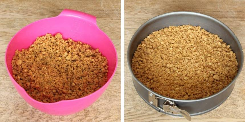 1. Smula sönder digestivekexen och blanda ihop dem med smöret. Tryck ut smulorna i en springform, ca 24 cm i diameter.