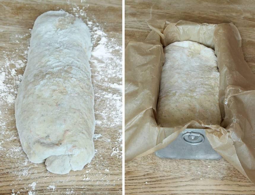 2. Knåda igenom degen på ett mjölat bakbord. Forma degen till en limpa och lägg den i en limpform, ca 1 ½ liter, klädd med bakplåtspapper.