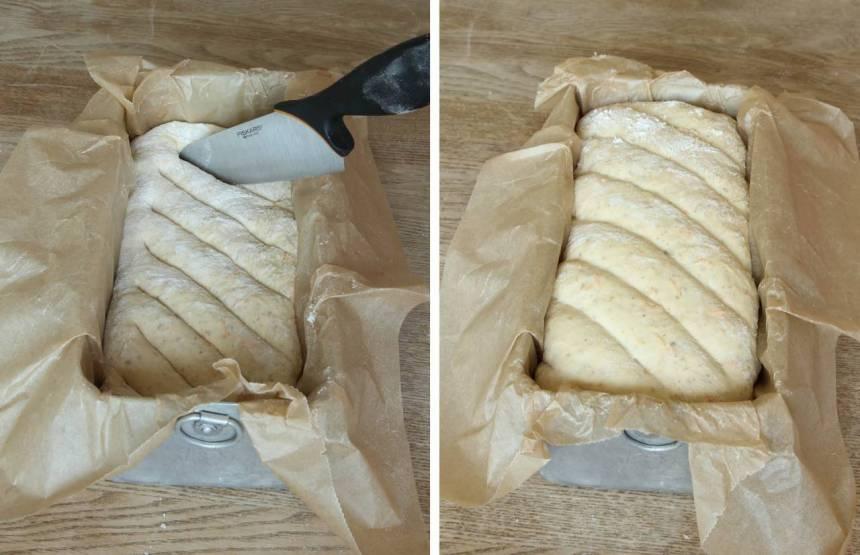 3. Snitta limpan med en vass kniv. Låt den jäsa under bakduk i ca 30 min. Sätt ugnen på 250 grader.