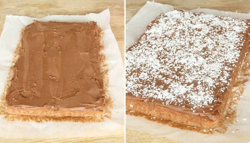 6. Bred ut glasyren på kakan och strö över kokos. Låt glasyren stelna innan du skär kakan i rutor.