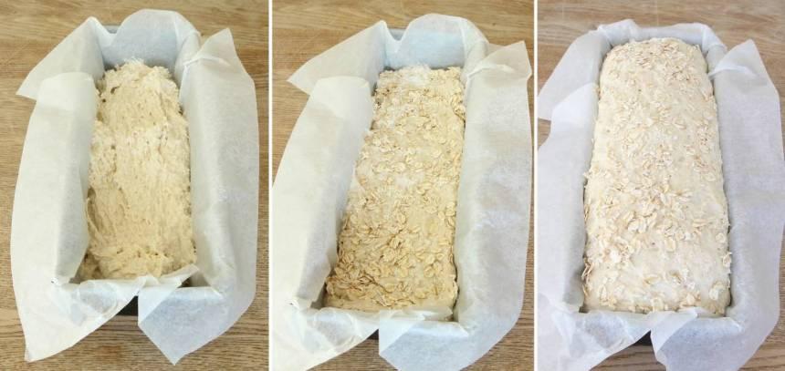 2. Bred ut degen i en limpform, ca 1 ½ liter, klädd med bakplåtspapper. Strö över lite vetemjöl och havregryn. Fyll upp diskhon med lite varmt vatten och ställ ner limpformen i vattnet. Låt degen jäsa täckt med plastfolié i ca 1 tim i vattnet, eller låt den jäsa övertäckt i kylen över natten (om du vill kalljäsa den).
