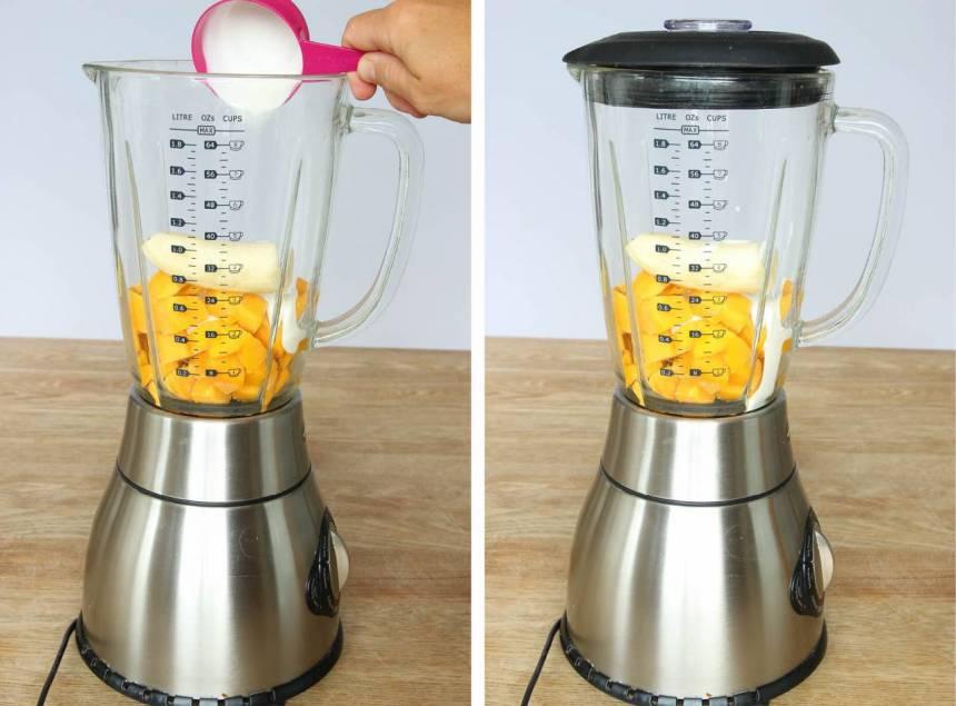 1. Blanda alla ingredienserna i en mixer och kör tills du har en krämig glass. Ibland får man stanna mixern och trycka ner ingredienserna igen. Ät direkt eller förvara glassen i frysen. Täck glassen med plastfolie om den förvaras i frysen så det inte bildas skinn på glassen.